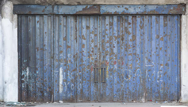 door metal big worn rusted morocco
